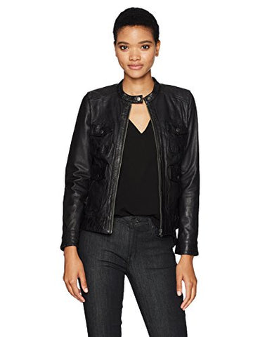 Lucky Brand Women's Four Pocket Scuba Jacket, Lucky Black, Large