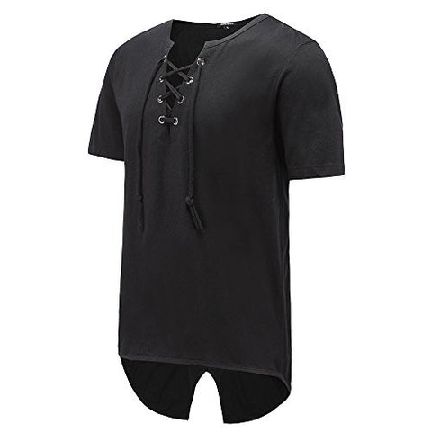 Men Hipster Hip Hop Super Longline T-Shirt With button ring Up V Neck Tuxedo T Shirt Black (M, A-TS06-Balck)
