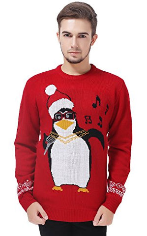 V28 Men's Christmas Reindeer Snowman Penguin Santa and Snowflake Sweater (Large, Karaoke)