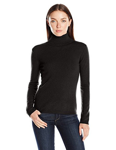 Lark & Ro Women's 100 Percent Cashmere 2 Ply Slim Fit Basic Turtleneck Sweater, Black, Small