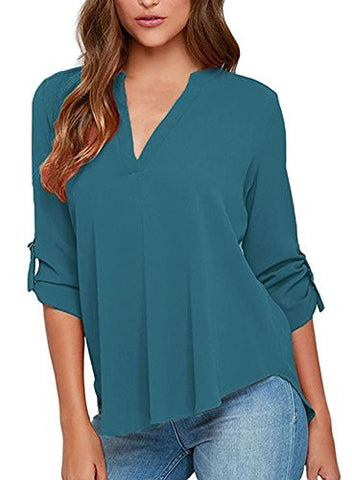 Face N Face Women's Summer V Neck Solid Loose Casual Cuffed Long Sleeve Blouses Lake Green XL