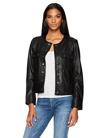 Lucky Brand Women's Collarless Jacket, Lucky Black, X-Large