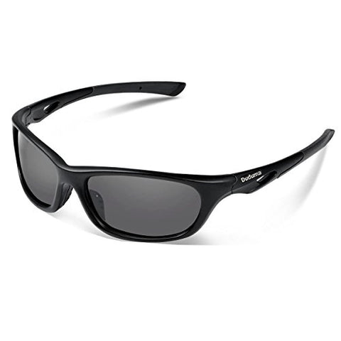 Duduma Polarized Sports Sunglasses for Baseball Running Cycling Fishing Golf Tr90 Durable Frame (646 black matte frame with black lens)