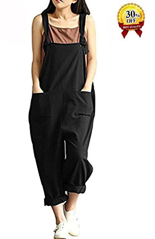 YAELUCKY Women Cotton Linen Overalls Adjustable Strap Pattern Sleeveless Jumpsuit With Pockets Black
