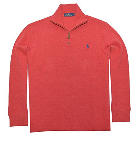 Polo Ralph Lauren Mens Half Zip French Rib Cotton Sweater (Flame Heather, Small)