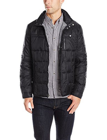 Kenneth Cole New York Men's Box Quilted Faux Down Jacket, Black/Smoke, Medium