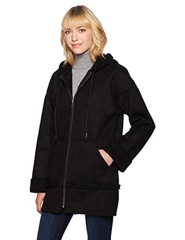 Guess Women's Long Sleeve Yesmin Hooded Coat, Jet Black, Small