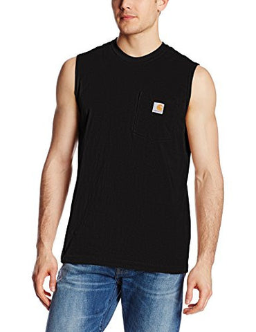 Carhartt Men's Workwear Pocket Sleeveless Midweight T-Shirt Relaxed Fit,Black,Large