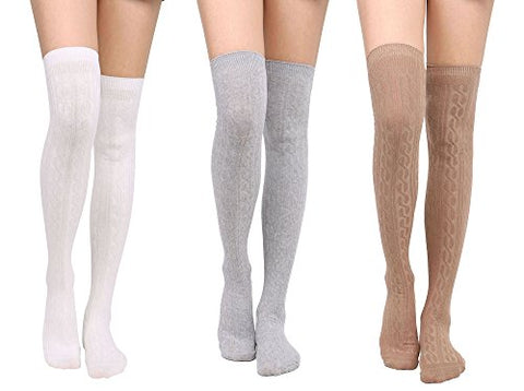 Leg Warmers Womens Over the Knee High Thigh High Socks,3Pack_Khaki/White/Li.grey
