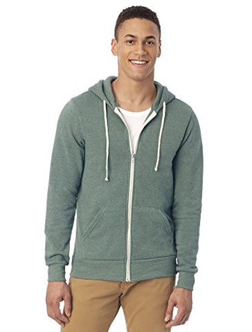 Alternative Men's Rocky Zip Hoodie Sweatshirt, Eco True/Dusty Pine, Large