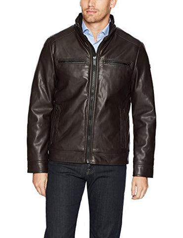 Calvin Klein Men's Fur Lined Faux Leather Jacket, Heritage Brown, Large