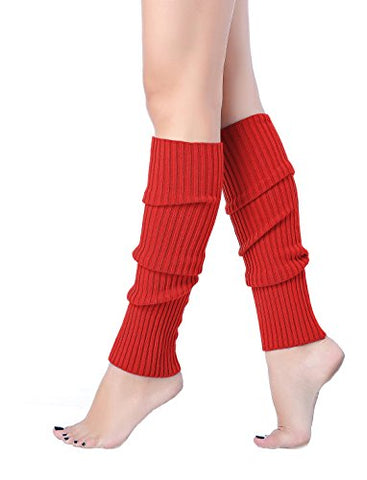 Women Winter Warm Leg Warmers Knitted Long Socks (one size, Red)