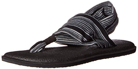Sanuk Women's Yoga Sling 2 Flip Flop,Black/White,8 M US