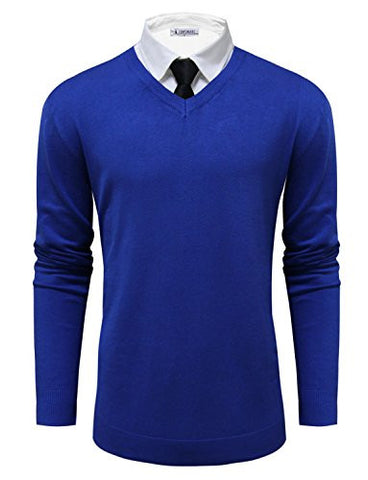 Tom's Ware Mens Classic V-Neck Long Sleeve Sweater TWMV06-D.BLUE-US M