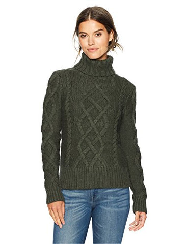 Pendleton Women's Luxe Cable Merino Alpaca Turtleneck Sweater, Forest Night, S