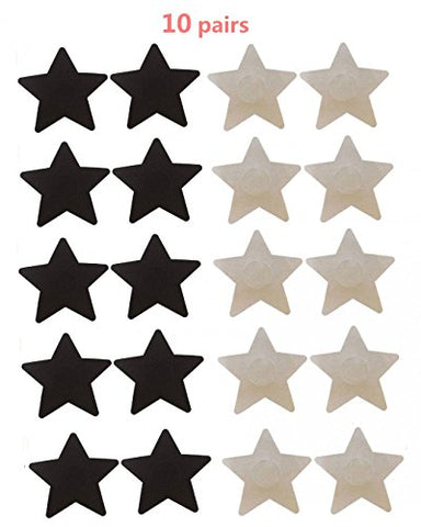 10 Pairs Womens Sexy Pasties Disposable Pasty Set Stain Nipple Cover Multi Design, 5 pairs black & 5 pairs beige star shape, One Size