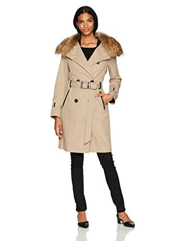 Mackage Women's Karolina Trench Coat W/ Removable Collar and Down Vest, Sand, S