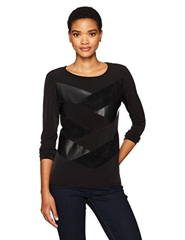 Calvin Klein Women's Long Sleeve Pu and Suede Mix Top, Black, M