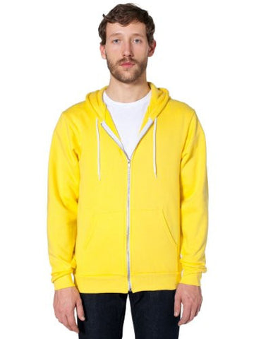 American Apparel  Unisex Flex Fleece Zip Hoodie, Sunshine, Medium