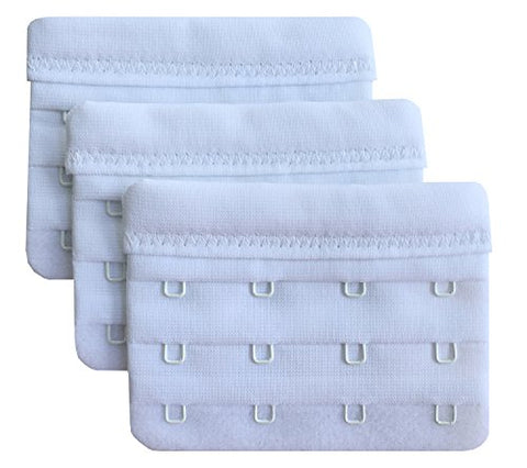 "Chanie Women Pack of 3 Soft Comfortable 4 Hooks Bra Extender,2.4""x 3.0"""