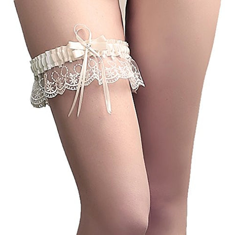MeryaDress Lace Wedding Garter Adjust Stretch Garter with Bow Detail Ivory-A