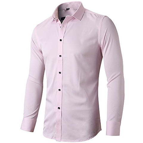 "Mens Fiber Casual Button Up Slim Fit Collared Formal Shirts, Pink Button Down Shirt,Pink,15""Neck 33""Sleeve"