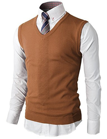 H2H Mens Various Color Casual Slim Fit Knitted Pullover Vest Sweaters BROWN US 3XL/Asia 4XL (KMOV050)