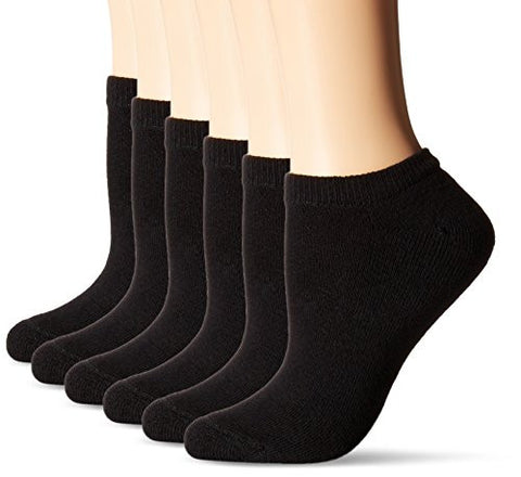 Hanes Women's ComfortBlend No Show Pack of 6,Solid Black,Shoe Size 5-9