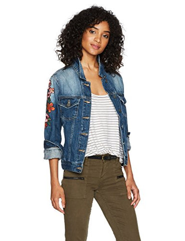 Miss Me Women's Embroidered Denim Jacket, Medium Blue, M