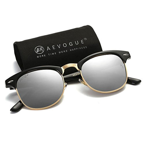 AEVOGUE Polarized Sunglasses Semi-Rimless Frame Brand Designer Classic AE0369 (Black&Silver, 48)