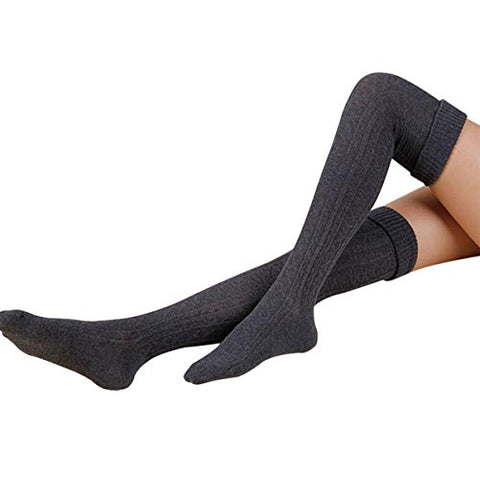 Hippih Womens Spring Sexy Over Knee Leg Warmer Crochet Thigh High Boot Socks Girls Leggings(Dark Grey)