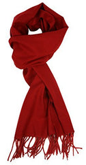 Love Lakeside-Men's Cashmere Feel Winter Solid Color Scarf Cranberry Red