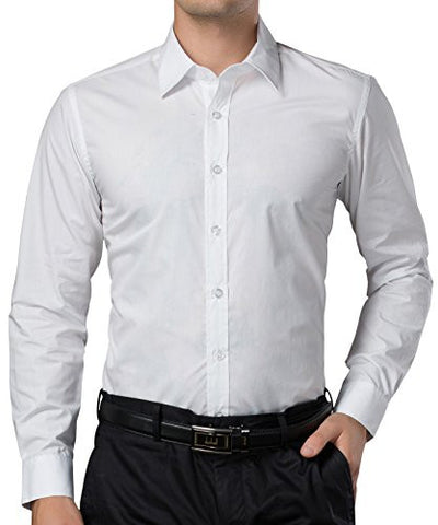 Mens Business Casual White Dress Shirts Long Sleeves (L)