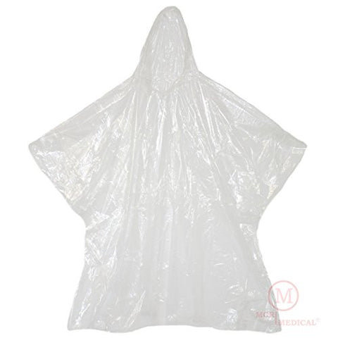 Disposable Rain Ponchos with Hood, Clear (Pack of 10)