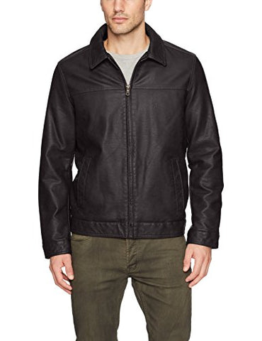 Tommy Hilfiger Men's Classic Faux Leather James Dean Jacket, Black, Medium