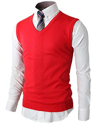 H2H Mens Basic Designed Fitted Knit Warm Vest RED US S/Asia M (KMOV050)