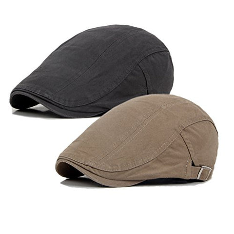 2 Pack Men's Cotton Flat Cap Ivy Gatsby Newsboy Hunting Hat (Khaki/Grey)