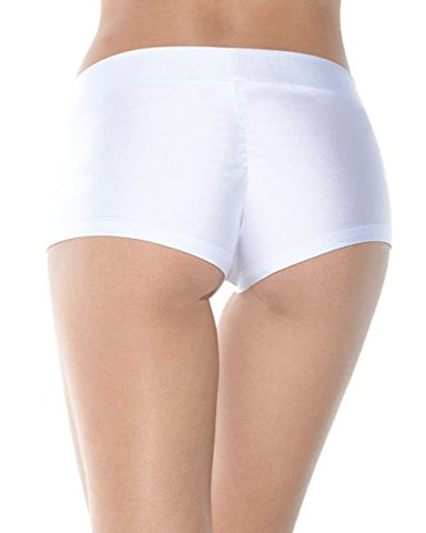 iHeartRaves Solid Rave Booty Shorts (Small, White)