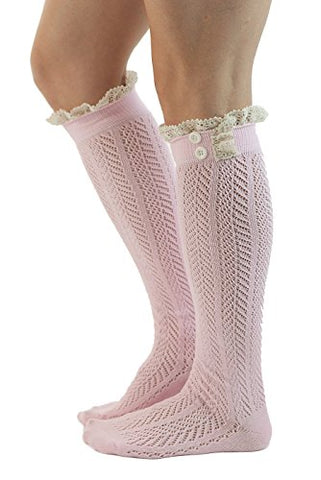 The Original Button Boot Socks with Lace Trim Boutique Socks by Modern Boho Pink One Size