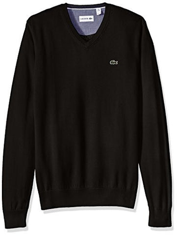 Lacoste Men's Seg 1 Cotton Jersey V-Neck Sweater, AH0347-51, Black, 8