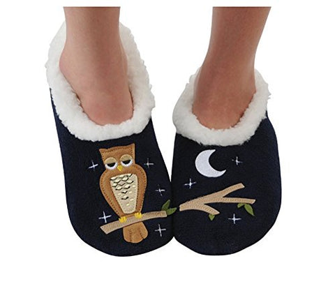 Snoozies Womens Classic Splitz Applique Slipper Socks - Up Owl Night, Medium