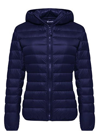 Wantdo Women's Hooded Packable Ultra Light Weight Down Coat Short Outwear(Navy,US Medium)