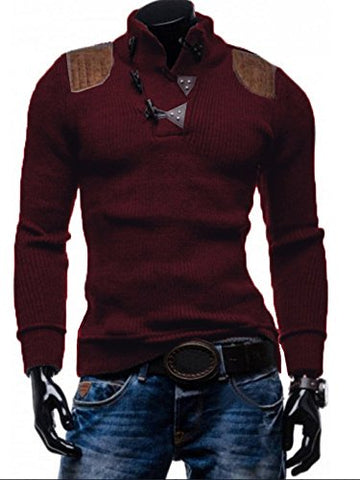 Ferbis Men's Stand Lapel Collar Sweater Ribbed Long Sleeve Pullover Knitted Sweater with Buttons