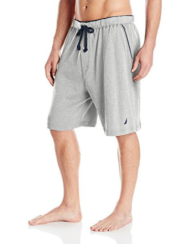 Nautica Men's Knit Sleep Short, Grey Heather, Large