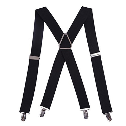 "HDE Men's X-Back Clip Suspenders Adjustable Elastic Shoulder Strap - 1.5"" Wide (Black)"