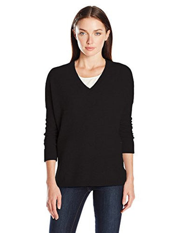 Lark & Ro Women's 100 Percent Cashmere 2 Ply Slouchy V-Neck Sweater, Black, Medium