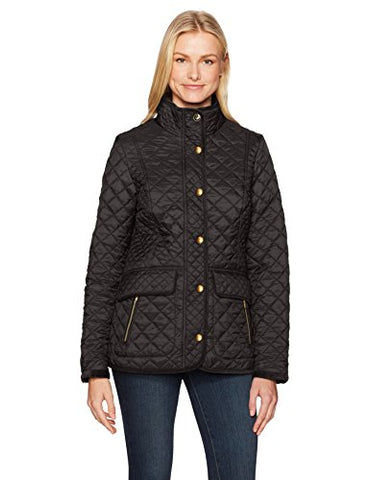 Joules Women's Newdale Quilted Coat, Black, 10