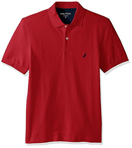 Nautica Men's Short Sleeve Solid Cotton Pique Polo Shirt, Rose Coral, Large