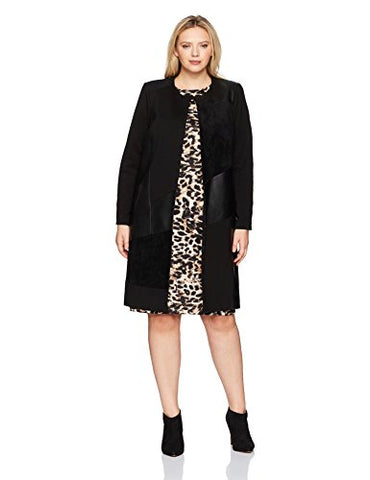 Calvin Klein Women's Plus Size Long Jacket with Suede and Pu, Black, 22W