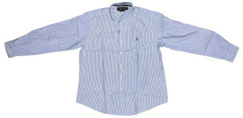 Polo Ralph Lauren Mens Long Sleeve Oxford Button Down Shirt (Blue White Wide, XS)